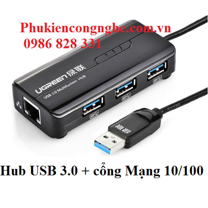 Bộ chia 3 cổng USB 3.0 tich hợp cổng Mạng Chính hãng Ugreen 20266 2