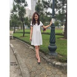 Đầm bầu màu trắng tinh khôi cổ sen đen cực trẻ trung sành điệu