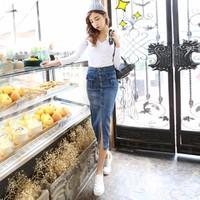 Hàng nhập cao cấp: Chân váy bút chì dài jeans cạp cao tôn dáng