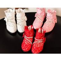 Giày bé gái boot ren màu trắng