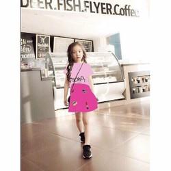 Bộ BG áo thun hồng in chữ phối váy thun họa tiết dễ thương HB363
