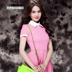 Đầm xòe hồng tay con thiết kế cổ sen dễ thương như Ngọc Trinh DDNC138
