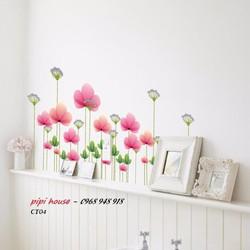 Decal dán chân tường hoa giai nhân