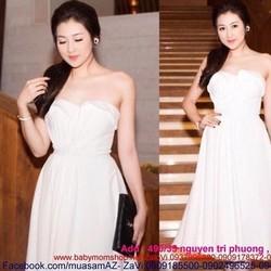 Đầm xòe dự tiệc trắng trẻ trung thiết kế cúp ngực sexy DXV117
