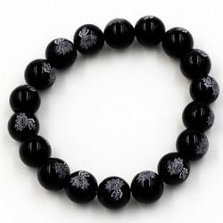 Vòng hạt thạch anh Đen khắc chữ Phật 10 ly