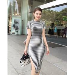 Đầm sọc ôm body xẻ tà DVU6027 Hàng Shop Cao Cấp  Size :S,M,L,XL