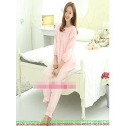 Đồ bộ mặc nhà pyjama dài tay phối ren dễ thương NN439