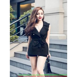 Sét áo kiểu dạng vest thắt nơ eo và quần short sành điệu SQ97