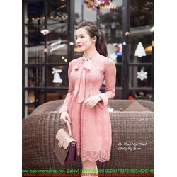 Đầm xòe công sở dài tay ren hồng và thắt nơ dễ thương DXV240