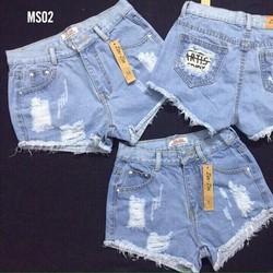 QN024- quần short jean cào rách lai tua túi phối vải