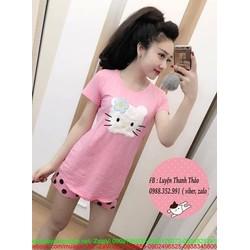 Đồ bộ ngắn hình hello kitty và quần chấm bi dễ thương DBTN459