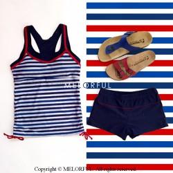 Tankini 2 mảnh quần short sọc ngang xanh thủy thủ The Stripes Tan