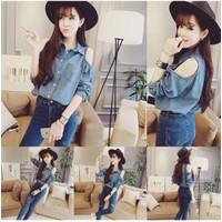 Áo  kiểu nữ khoét vai lạ mắt phong cách Hàn-A012-
