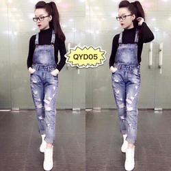 C-165-Quần yếm jeans rách was sợi QYD05