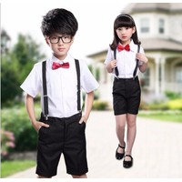 Bộ học sinh - áo và quần ngắn trẻ em 9689 4 đến 16 tuổi