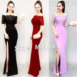 Đầm Maxi Xẻ Đùi Phối Ren Cao Cấp Giống Bạch Nguyễn EKE-D1145
