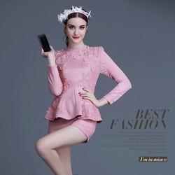 Thời trang cao cấp-Set áo peplum + quần short 2T007