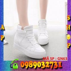 Giày sneaker nữ trắng cao 7cm cao cấp - ap shop - GN63