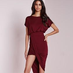 Đầm ôm body ngắn tay, màu sắc sang trọng, phong cách châu Âu-D2352