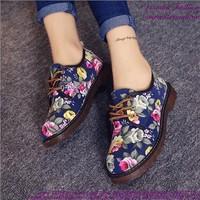 Giày oxford nữ họa tiết hoa mẫu mới sành điệu GUBB149