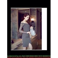 Đầm body bẹt vai phối tay ren sang trọng và quý phái DOV810