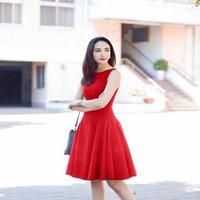 Đầm xòe công sở sát nách xếp ly thiết kế đơn giản xinh đẹp DXV188