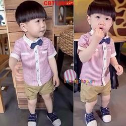 Bộ áo sơ mi sọc đỏ phối quần kaki kèm nơ dễ thương cho bé 1 - 8 tuổi