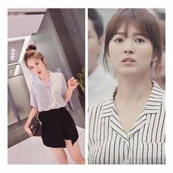 Bộ Set Áo Sọc Và Váy Xinh Như SongHyeKyo - setbv103