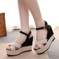 Giày đế xuồng phối 2 màu thời trang - LN142