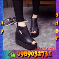 Giày bánh mì nữ đế cao 10cm da thật cao cấp - ap shop - GN62