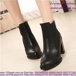 Giày boot da thu đông cổ cao phong cách sành điệu GUBB129