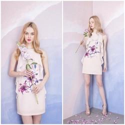 SỈ - LẺ ĐẦM THIẾT KẾ : Đầm suông bèo ngực hoa tím