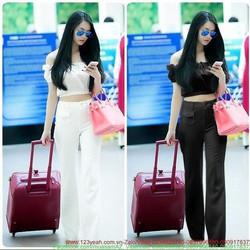 Sét áo kiểu bẹt vai bo eo và quần suông ống rộng sành điệu SQV115