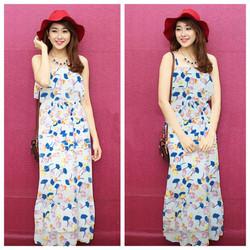 Đầm Maxi Hoa Bèo Cúp Ngực Xinh Xắn- JR252