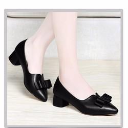 Giày gót vuông búp bê 3cm nơ cực xinh