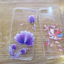Ốp silicon in hoa đính đá cho IPhone 5, 5S