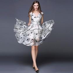 Đầm xòe dự tiệc voan họa tiết hoa tigon TAGS2271