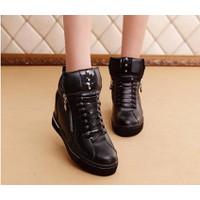 B034D - Giày bốt da nữ khóa kéo cá tính