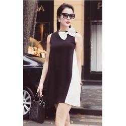 Đầm suông trắng phối đen dễ thương D488
