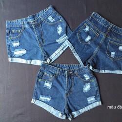 QNU016- quần short jean cào rách lật lai