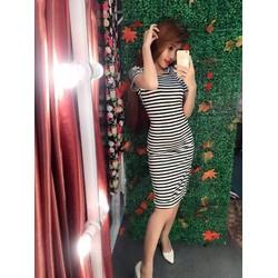 Đầm ôm body sọc ngang đen trắng