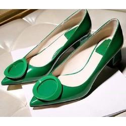 Giày cao gót nơ tròn đế vuông