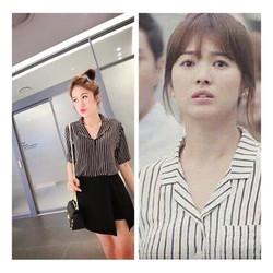Bộ Set Áo Sọc Và Váy Xinh Như SongHyeKyo -JR253