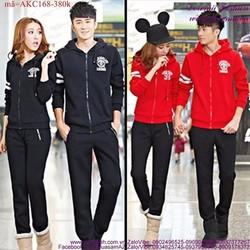 Áo khoác cặp đôi logo tay viền sọc trẻ trung cAKC168