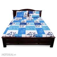 bộ ga giường ô xanh lá 180x200