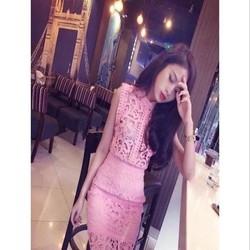 Đầm dự tiệc thiết kế ôm vải ren hoa cắt laze xinh đẹp DOV812