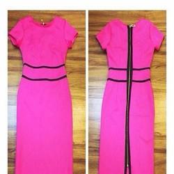 Đầm hồng dự tiệc thiết kế phối viền đen cá tính ôm dáng đẹp DOV513