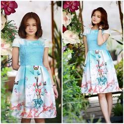 SỈ - LẺ ĐẦM THIẾT KẾ : Đầm xòe ren xanh hoa đào