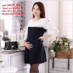 Đầm bầu Hàn Quốc tay dài phối ren sang trọng đẳng cấp zzDB579