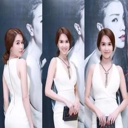 Đầm body trắng xẻ cổ V sâu sexy sành điệu như Ngọc trinh DOV470